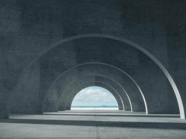 Corridoio di cemento con lo spazio del mare.