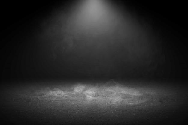 Pavimento in cemento con fumo e luce