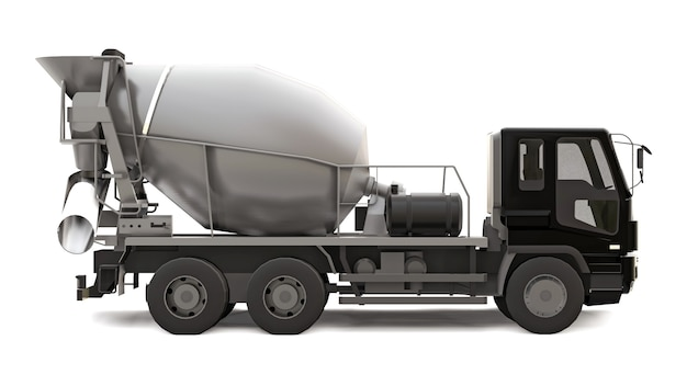 Camion betoniera con cabina nera e miscelatore grigio su bianco