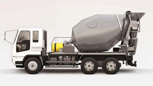 Camion betoniera con cabina bianca e miscelatore grigio su sfondo bianco. illustrazione tridimensionale dell'attrezzatura per l'edilizia. rendering 3d.