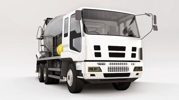 Camion betoniera con cabina bianca e miscelatore grigio su sfondo bianco. illustrazione tridimensionale di attrezzature per l'edilizia. rendering 3d.