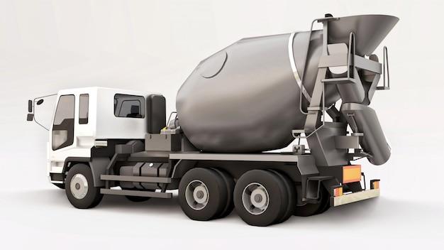 Camion della betoniera con la carrozza bianca e la betoniera grigia su spazio bianco. illustrazione tridimensionale di attrezzatura per l'edilizia. rendering 3d.