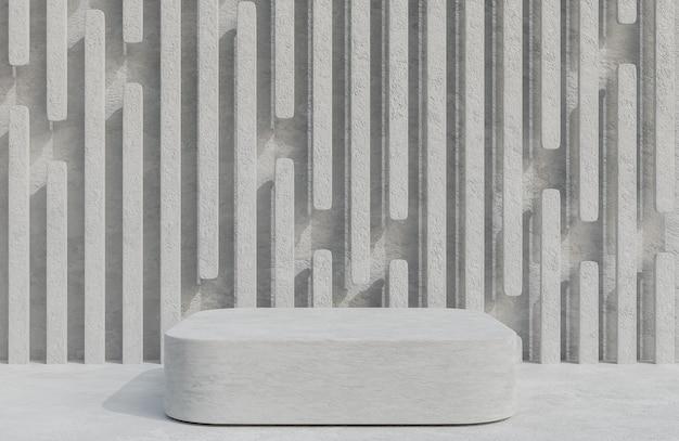 Podio concreto per la presentazione del prodotto sul modello 3d e sull'illustrazione di stile minimo del fondo del muro di cemento.