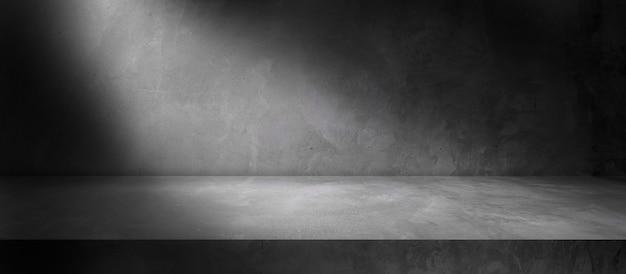 Muro di cemento e pavimento con sfondi di luci e ombre, da utilizzare per l'esposizione del prodotto per la presentazione e il design del banner di copertina.