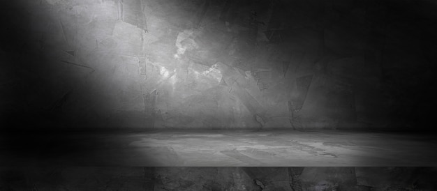 Muro di cemento e pavimento con sfondi di riflettori e ombre, da utilizzare per la visualizzazione del prodotto per la presentazione e il design del banner di copertina.