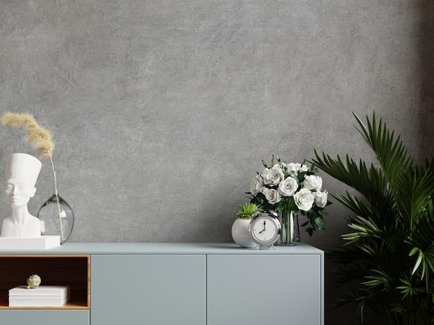 Muro di cemento con piante ornamentali e elemento decorativo su mobile, rendering 3d