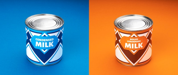 Latte condensato e latte condensato bollito su sfondo blu e arancione