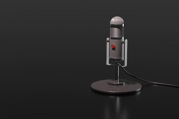 Microfono a condensatore isolato su uno sfondo nero. illustrazione 3d.