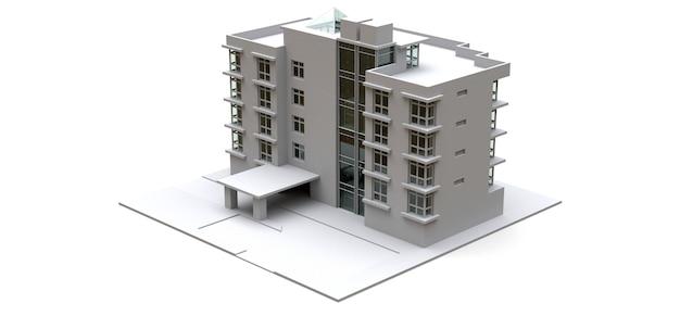 Modello condominiale di colore bianco con vetri trasparenti. appartamento. rendering 3d.