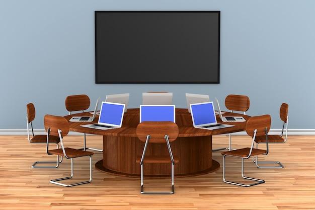 Interno della sala conferenze. illustrazione 3d