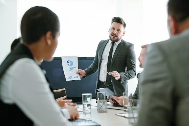 Broker fiducioso in abito elegante e cravatta che mostra carta con diagramma finanziario a giovani colleghi o partner interculturali alla riunione