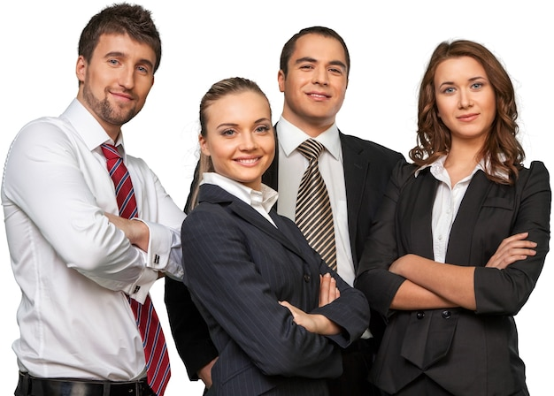 Fiducioso team aziendale isolato su sfondo bianco