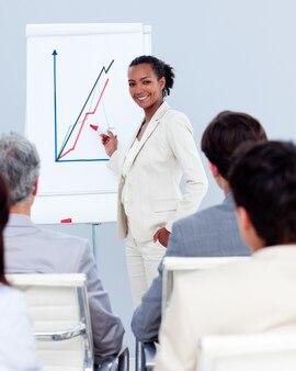 Donna di affari sicura che fa una presentazione