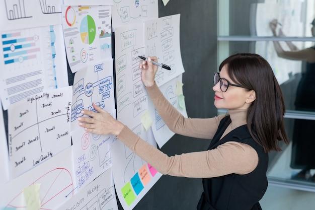 Fiducioso economista in smart casual e occhiali da vista analizzando le informazioni finanziarie sulla lavagna in ufficio