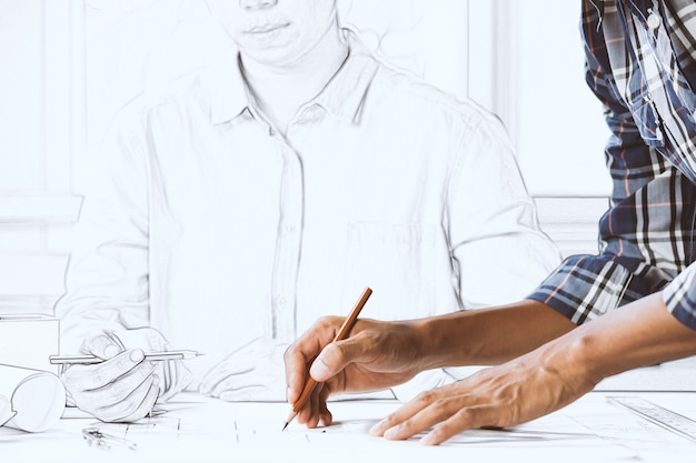 Fiducioso ingegnere barbuto maschio lavorando con l'architetto femminile nello spazio di lavoro insieme. concetto, costruzione, squadra, lavoro, progetto, casa. cooperazione