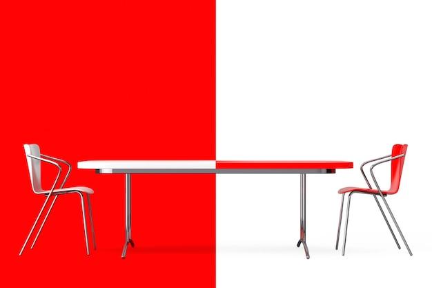 Concetto di confronto. sedie e scrivania in bianco e nero davanti a sfondo rosso e bianco.