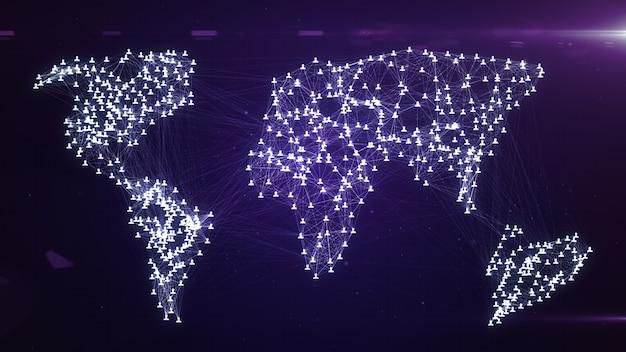 Connettere le persone su internet, nodi che si trasformano nella forma di una mappa del mondo, illustrazione 3d della connessione di rete sociale