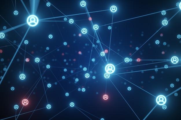Connessione di persone su internet, trasformazione dei nodi