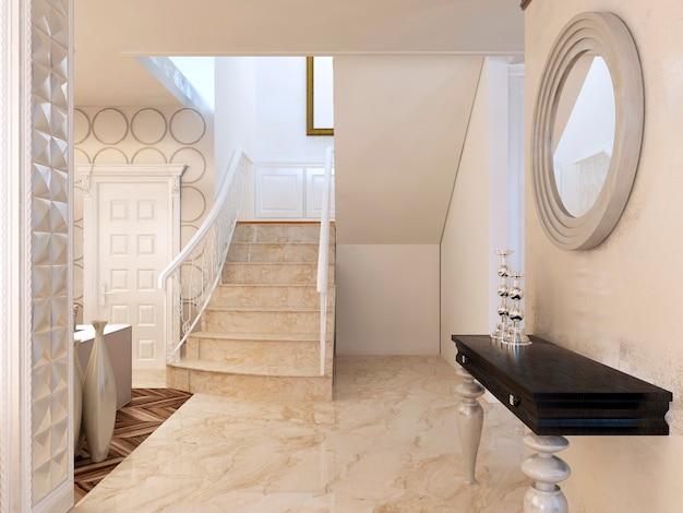 Consolle con specchio a parete nella zona delle scale, in stile art déco. consolle di design con piano di lavoro nero lucido e gambe bianche e specchio con cornice bianca. rendering 3d.