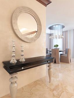 Consolle con specchio a parete nella zona pranzo, in stile art déco. consolle di design con piano di lavoro nero lucido e gambe bianche. rendering 3d.