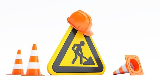 Concetto in costruzione, sito in costruzione, barriera stradale con segno e coni. rendering 3d