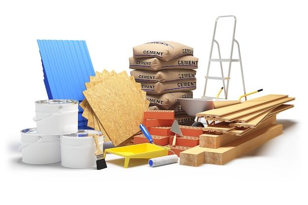 Materiali da costruzione isolati su sfondo bianco. rendering 3d