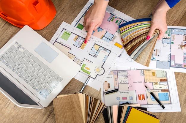 Piano di costruzione e campioni di materiali Foto Premium