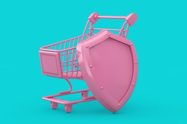 Concetto di protezione dei consumatori. carrello della spesa rosa con scudo in metallo rosa in stile bicolore su sfondo blu. rendering 3d