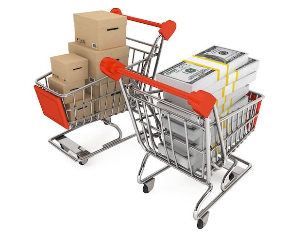 Il concetto di consumismo. carrelli della spesa con scatole e denaro su sfondo bianco