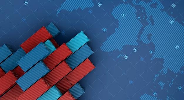 Nave da carico del contenitore nelle attività di esportazione di importazione logistiche sulla mappa del mondo digitale
