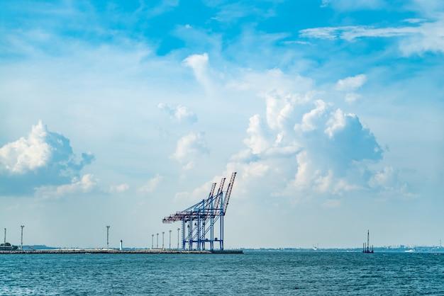 Gru per container nel terminal del porto di carico.