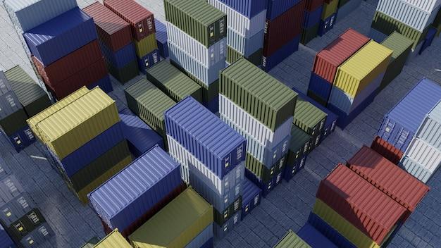Contenitori per nave in porto. la logistica. spedizioni merci al molo. vista aerea. rendering 3d