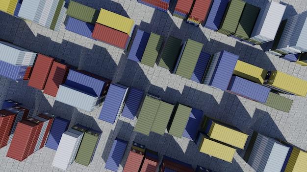 Contenitori per nave nella logistica del porto che spediscono merci al molo vista aerea d render