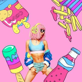 Collage di arte contemporanea. ragazza di partito degli alimenti a rapida preparazione. divertente progetto minimo di fast food