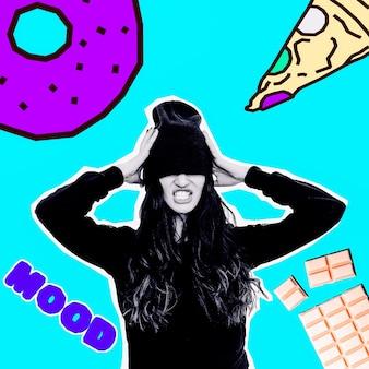 Collage di arte contemporanea. concetto minimo. ragazze e concetto di dieta. amante delle calorie