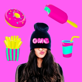 Collage di arte contemporanea. concetto minimo. ragazze e concetto di dieta. amante del fast food