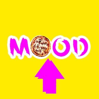 Collage di arte contemporanea. concetto minimo. testo pizza mood