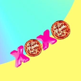 Collage di arte contemporanea. umore della pizza. progetto minimal fast food