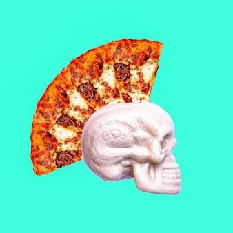 Collage di arte contemporanea. teschio di pizza punk. progetto minimal fast food