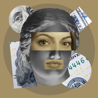 Collage di concetto di arte contemporanea con testa di sculture antiche in uno stile surreale arte moderna e insolita