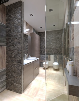 Bagno moderno e porta doccia in vetro e pareti piastrellate con pavimento di colore beige chiaro.
