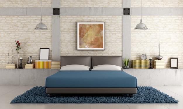 Camera da letto contemporanea in un soppalco