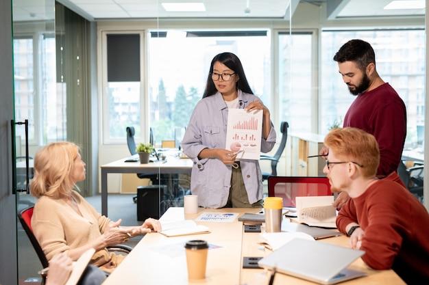 Broker contemporanei che discutono grafici e diagrammi finanziari durante una riunione di lavoro e condividono le loro opinioni sullo sviluppo del business