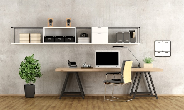 Home office contemporaneo con laptop sulla scrivania minimalista
