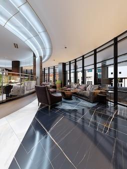 Interior design contemporaneo dell'hotel, hall dell'hotel, area relax con comodi mobili moderni. rendering 3d
