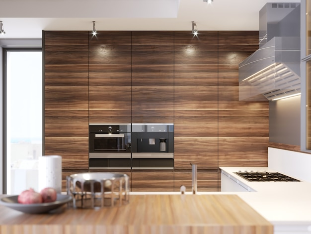 Cucina contemporanea in stile moderno. appartamento di lusso in centro. zona colazione in confortevole appartamento nuovissimo. rendering 3d