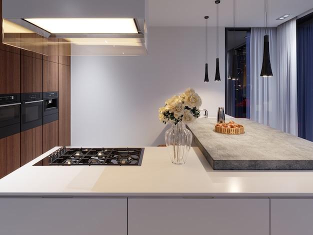 Cucina contemporanea con piano cottura ed elettrodomestici da incasso, facciata bianca e in legno duro. barra da tavolo in cemento. rendering 3d.