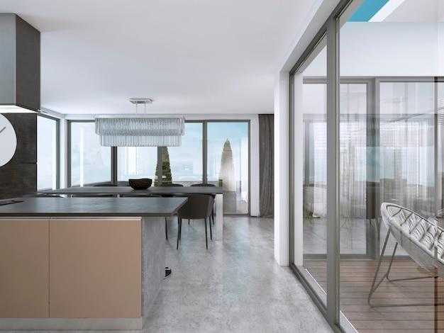 Cucina contemporanea con ampie finestre e isola con sgabelli da bar. rappresentazione 3d.