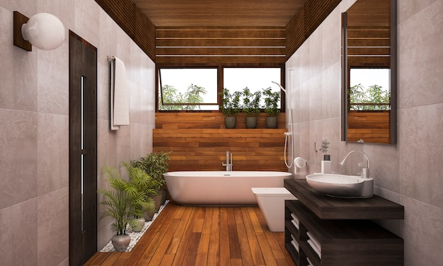 Bagno in legno contemporaneo con piante