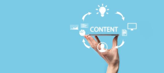 Ciclo di marketing dei contenuti: creazione, pubblicazione, distribuzione di contenuti per un pubblico mirato online e analisi.